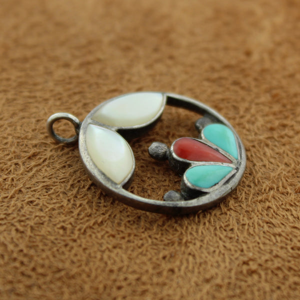 Zuni Sterling Silver Early Multi Stone Inlay Pendant, by F & L Pantean