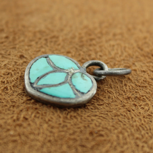 Zuni Sterling Silver 1940's Turquoise Inlay Heart Pendant