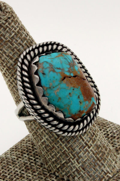 Navajo Sterling Silver Royston Turquoise Double Rope Bezel Ring, Size 9.5
