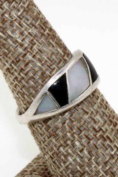 Zuni Sterling Silver Onyx and Mother or Pearl Channel Inlay Ring, Size 7.5