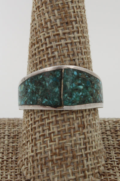 Zuni Sterling Silver Crushed Turquoise Inlay Ring, Size 10.25