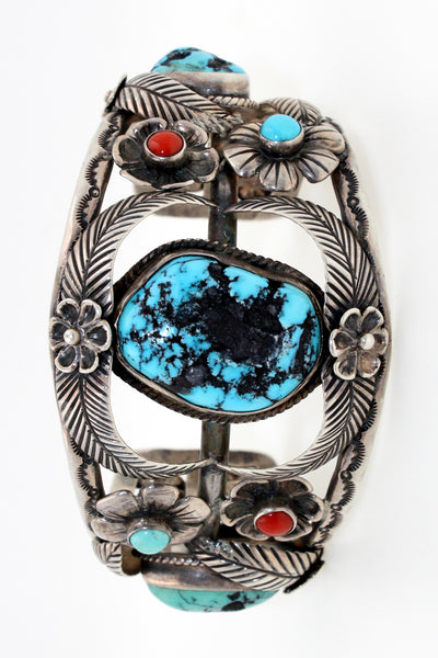 Navajo Sterling Silver Kingman Turquoise and Coral Flower Cuff Bracelet