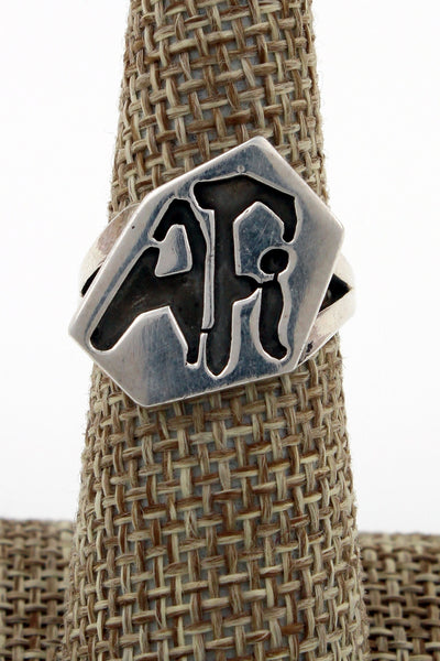 Hopi Sterling Silver Overlay Design Ring, Size 6.75