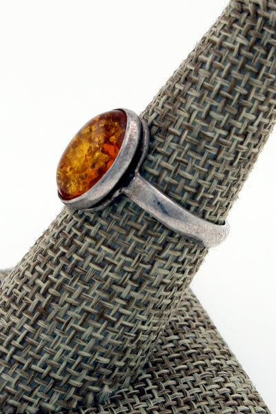Vintage Sterling Silver Amber Ring, Size 7.25