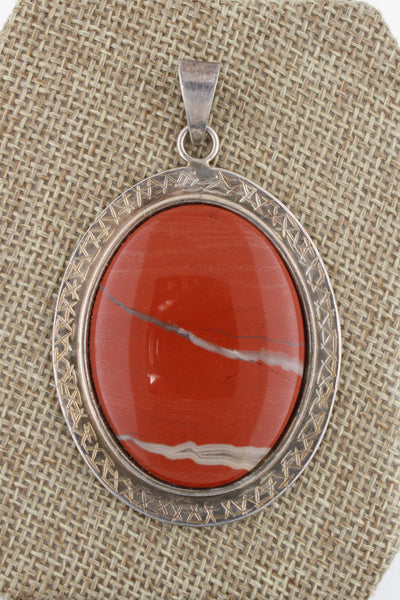 Southwestern Hand Stamped Blood Agate Pendant