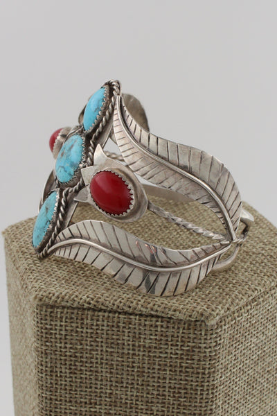 Navajo Sterling Silver Turquoise & Coral Tulip Flower Bracelet