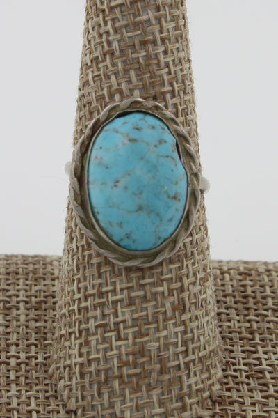 Mexico Sterling Silver Easter Blue Turquoise Ring, Size 7.75