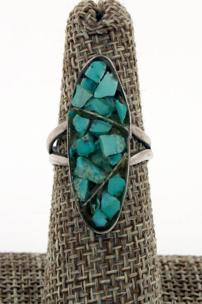 Navajo Sterling Silver Turquoise Chip Inlay Ring, Size 6.5