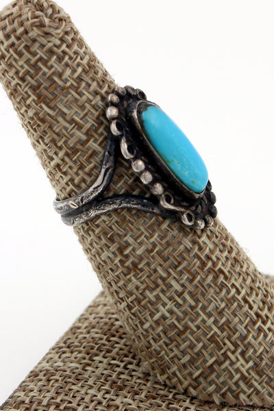Navajo Sterling Silver Fred Harvey Era Kingman Turquoise Ring Size 6.25