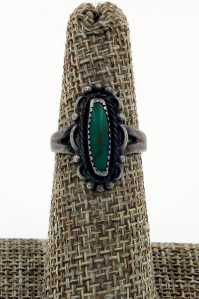 Navajo Sterling Silver Fred Harvey Era Petite Green Turquoise Ring, Size 6.5
