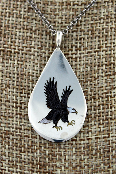 Navajo Sterling Silver Hand Carved Eagle Inlay Pendant by Larry Watchman