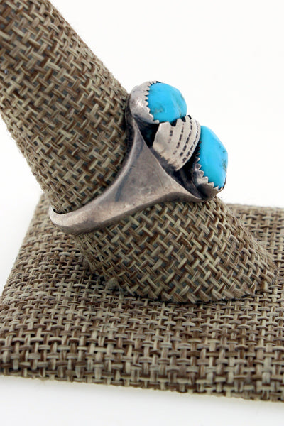 Navajo Sterling Silver Kingman Turquoise Hand Stamped Ring Size 9.75