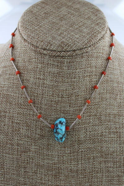 Navajo Sterling Silver Early Coral & Turquoise Necklace