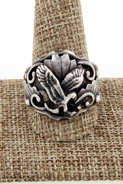 Navajo Sterling Silver Eagle Ring Marked S Size 12.75
