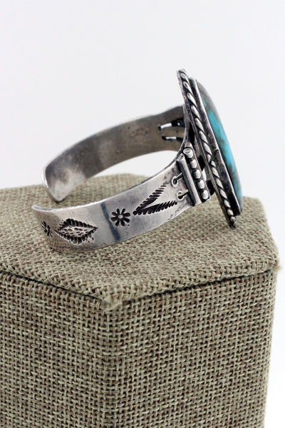 Navajo Sterling Silver Turquoise Hand Stamped Cuff, Marked