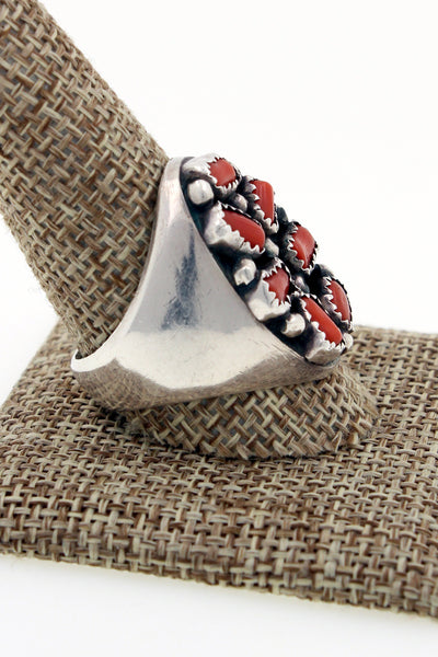 Navajo Sterling Silver Blood Red Coral Cluster Ring Size 11.25