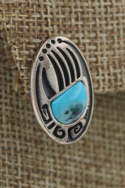 QVC Sterling Silver Turquoise Bear Claw Pierced Post Earrings and Pendant