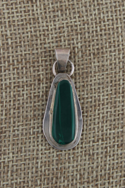 Navajo Sterling Silver Malachite Drop Pendant