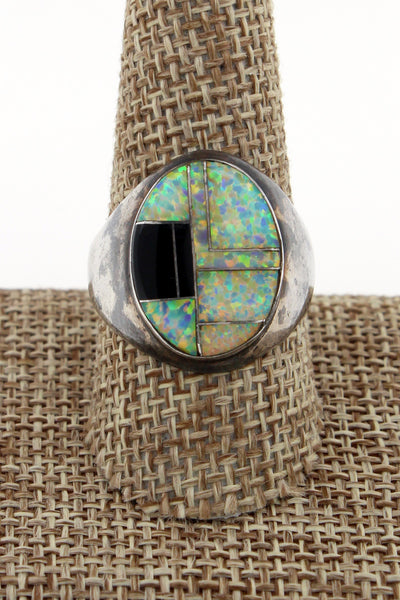 Zuni Sterling Silver Opal & Onyx Channel Inlay Ring by Jay Jay Size 10.25