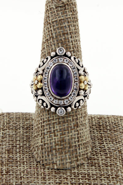 Barbara Bixby Amethyst & CZ 18K Sterling Silver Flower Ring Size 8.5