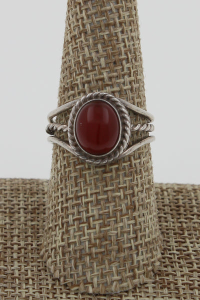 Navajo Sterling Silver Adjustable Garnet Twisted Rope Ring, Size 8