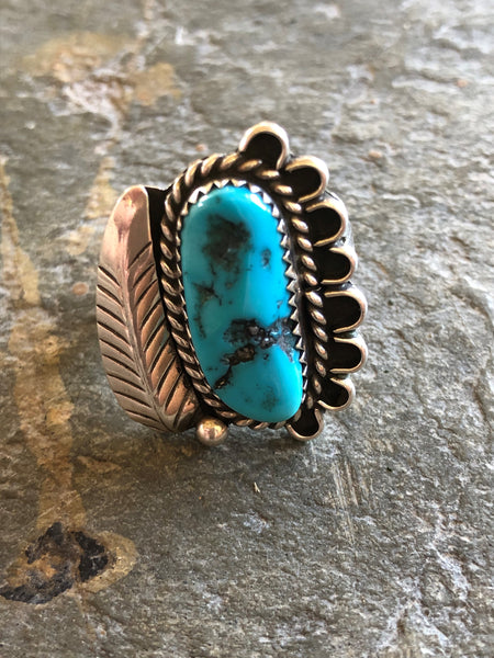 Navajo Sterling Silver Turquoise Leaf Ring Size 7.25 by J. Hoskie