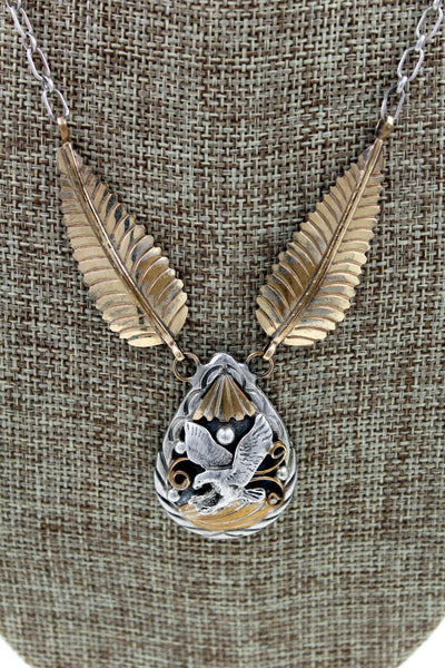 Navajo Sterling Silver Gold Overlay Eagle Pendant Necklace Marked C