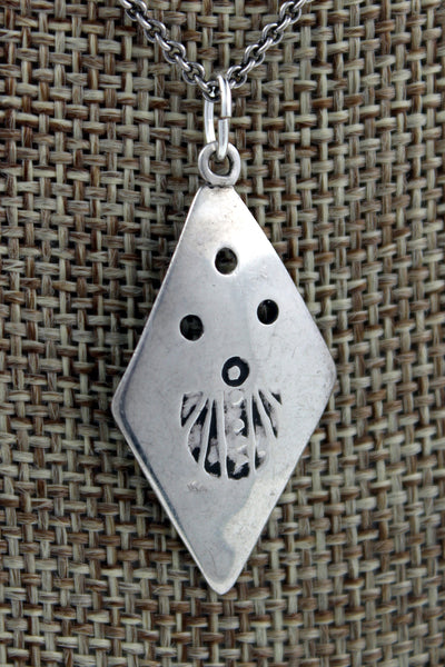 Navajo Sterling Silver Hand Stamped Diamond Shaped Pendant Marked