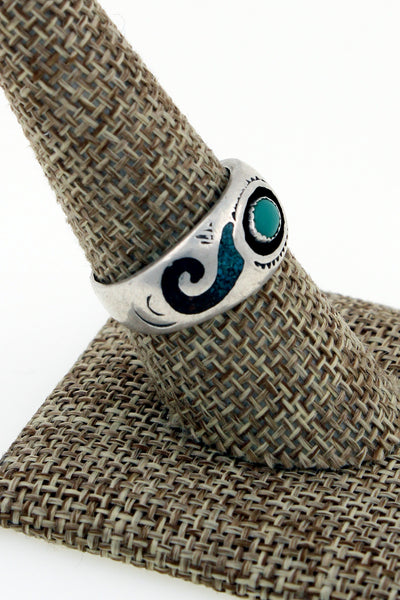 Navajo Sterling Silver Turquoise & Coral Inlay Ring by Circle Jack Whitaker 9.25