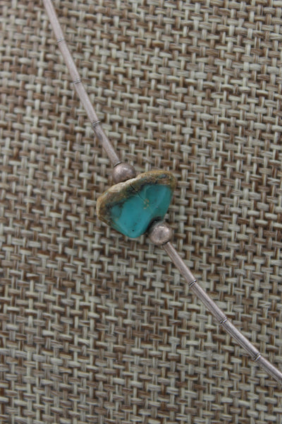 Navajo Sterling Silver Kingman Turquoise Nugget Necklace