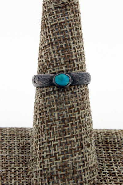 Navajo Sterling Silver Turquoise Solitaire Ring Size 6.75