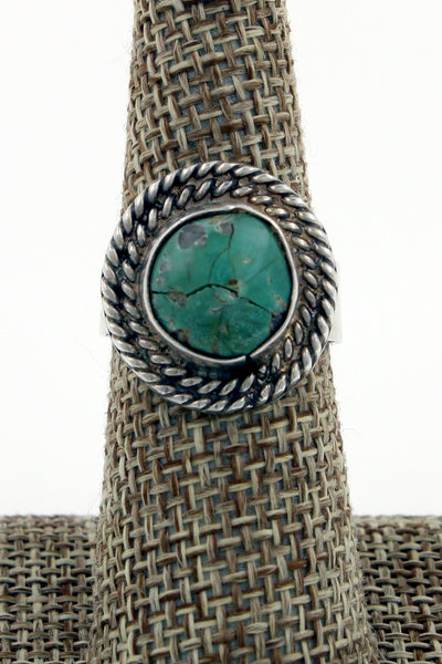Navajo Sterling Silver Turquoise Double Rope Bezel Ring, Size 7.75