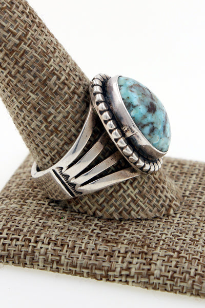 Navajo Sterling Silver Dry Creek Turquoise Hand Stamped Ring Size 11.75 Marked