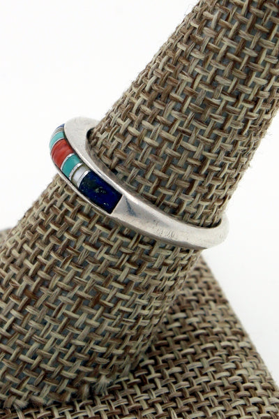 Zuni Sterling Silver Multi Stone Stacker Ring, Size 8.5