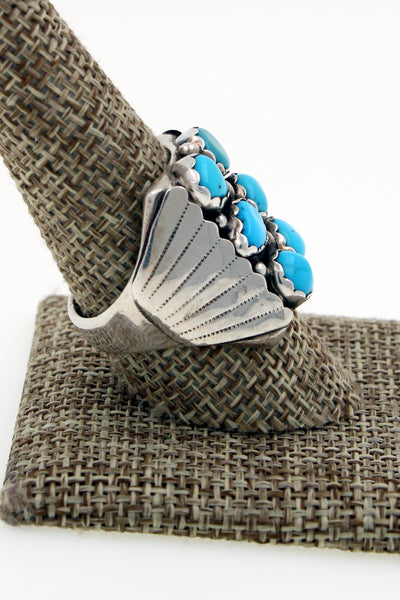 Navajo Sterling Silver Sleeping Beauty Turquoise Hand Stamped Ring 9.75 DL