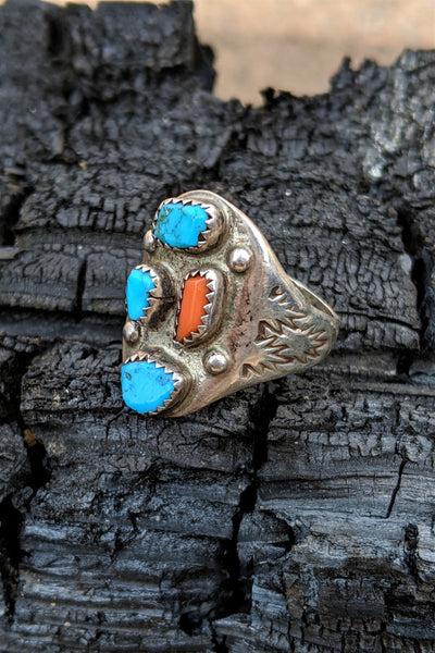 Fred Harvey Era Turquoise & Coral Hand Stamped Cigar Band Ring Size 12