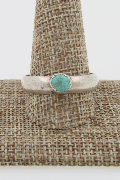 Navajo Sterling Silver Turquoise Solitaire Ring Marked Size 13.5