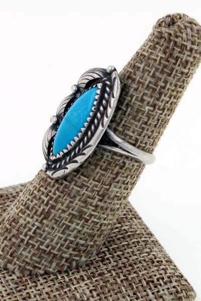 Navajo Sterling Silver Kingman Turquoise Hand Stamped Ring Size 7.25