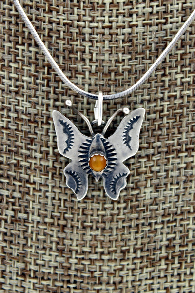 Navajo Sterling Silver Hand Stamped Tiger's Eye Butterfly Pendant Necklace