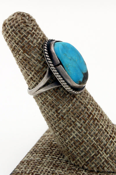Navajo Sterling Silver Kingman Turquoise Ring With Twisted Rope Bezel Size 5.75