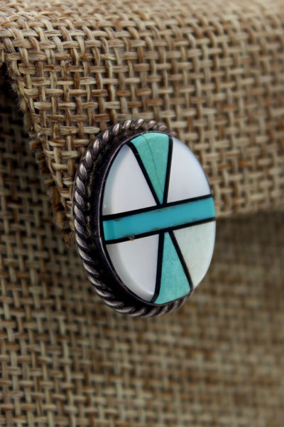Zuni Sterling Silver Turquoise, Onyx & MOP Inlay Pierced Earrings Marked ED
