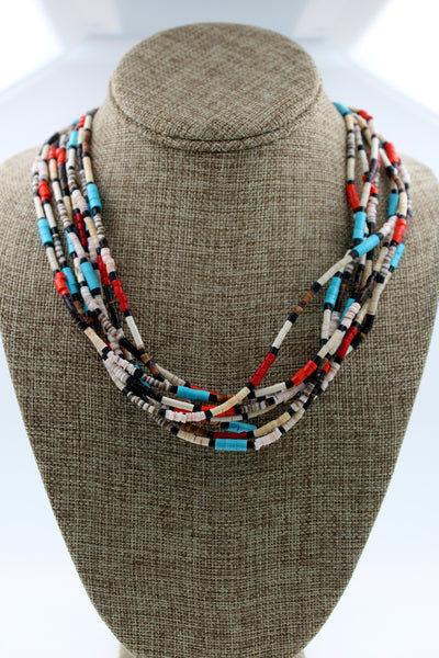Santo Domingo 8 Strand Turquoise, Coral, Onyx, Heishi Shell Necklace