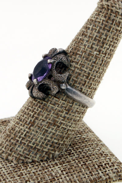 Kabana Sterling Silver Amethyst Ornate Ring Size 8.25