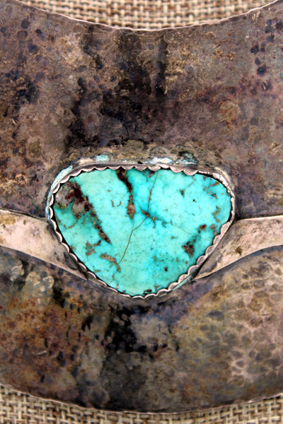 Navajo Hammered Sterling Silver Royston Turquoise Bib Necklace w/ Arrow