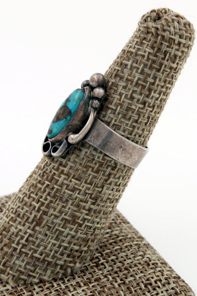 Hopi Sterling Silver Royston Turquoise Ring Size 6.75 Marked w/an Arrow