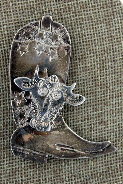 Grady Alexander Sterling Silver Hand Stamped Cowboy Boot & Cow Pin Brooch