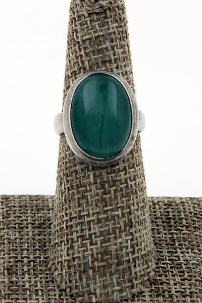 Sterling Silver Modernist Oval Green Mossy Quartz Ring Size 7.25