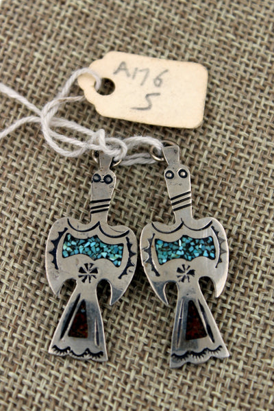 Navajo Sterling Silver Waterbird Turquoise & Coral Inlay Earrings or Pendants