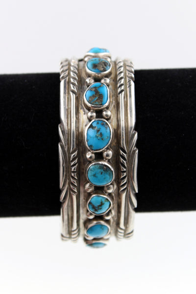 Navajo Sterling Silver Bisbee Turquoise 9 Stone Hand Filed Cuff Bracelet