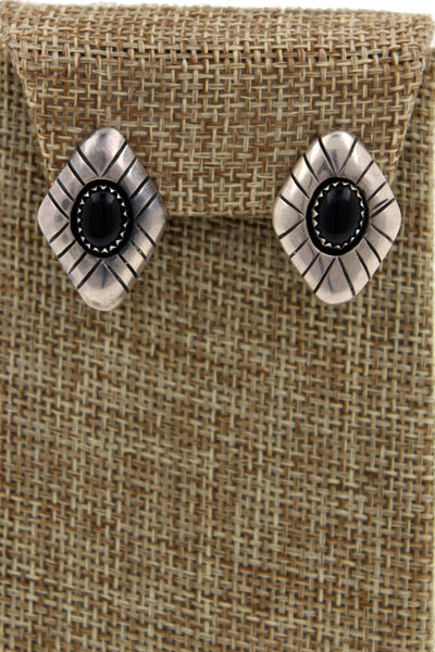 Navajo Sterling Silver Onyx Hand Stamped Shadowbox Clip On Earrings